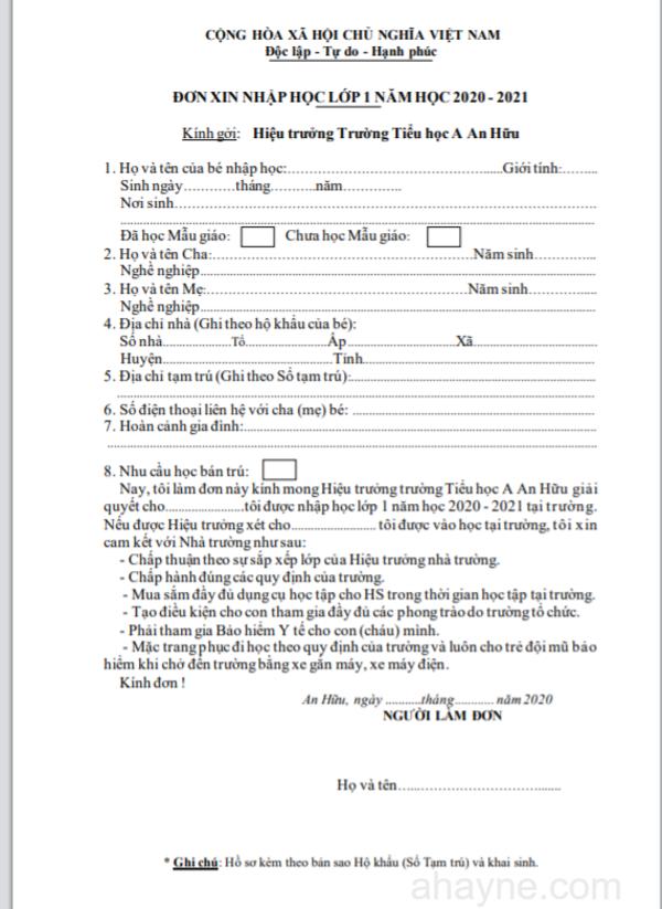 5+ mẫu đơn xin nhập học dành cho học sinh các cấp