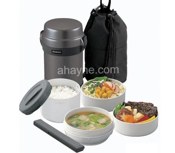 hộp đựng cơm giữ nhiệt zojirushi 4 ngăn zocm-sl-jaf14-sa màu bạc (1.3l)