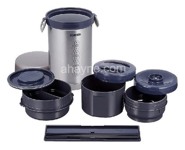 hộp cơm giữ nhiệt zojirushi zocm-sl-nc09-st loại 3 ngăn (840ml)