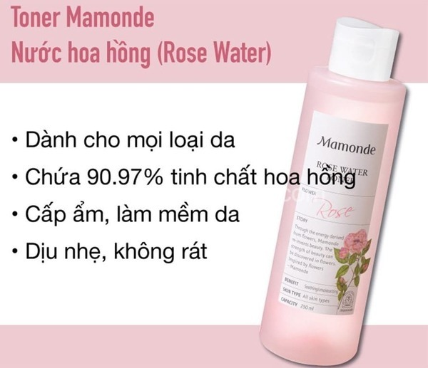 [review] nước hoa biểnng mamonde rose water toner 250ml