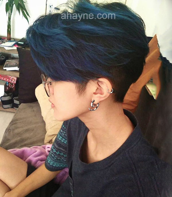 tóc nhuộm nam màu xanh navy